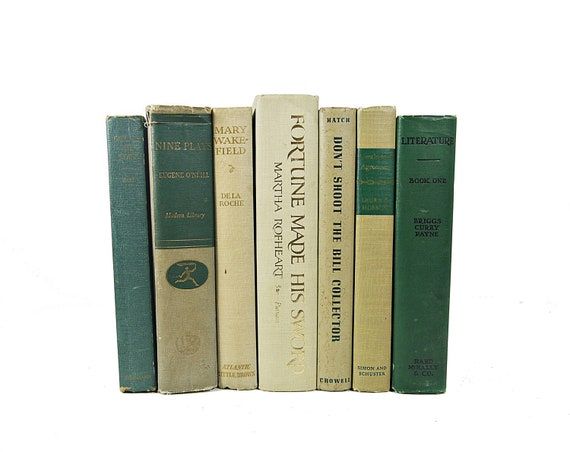 TEAL TAN Vintage Decorative Books, Shabby Chic Decor, Home Decor Gift, Wedding, Book Collection, Interior Design, Holiday green teal beige