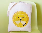 Lion Canvas Tote Bag - Large Shopper Grocery Diaper Tote Bag / Bright Yellow Sunny Lion : from original izzybizzy illustrations
