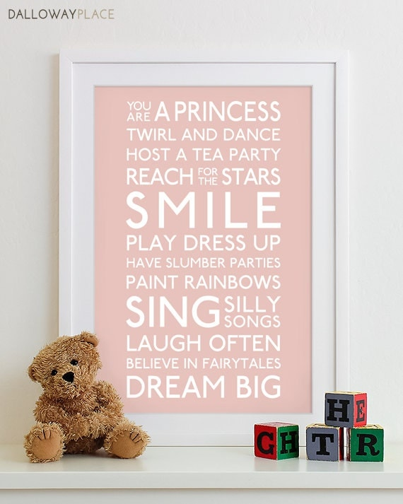 Baby girl nursery art print typography poster nursery prints for Girls wall art