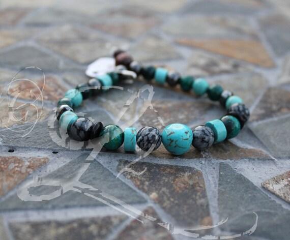 Libra Energy Bracelet Zodiac Turquoise Chryoscolla Snow Flake Obsidian OOAK