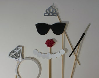 Bride Photo Booth Props with Glittered Diamond Ring and Tiara