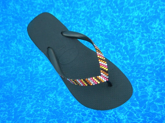 Custom Crystal Havaianas flat or Cariris Wedge Heel Flip Flop Stripe MultiColor Blush design w/ Swarovski Rhinestone Jewel Bling Beach Shoes