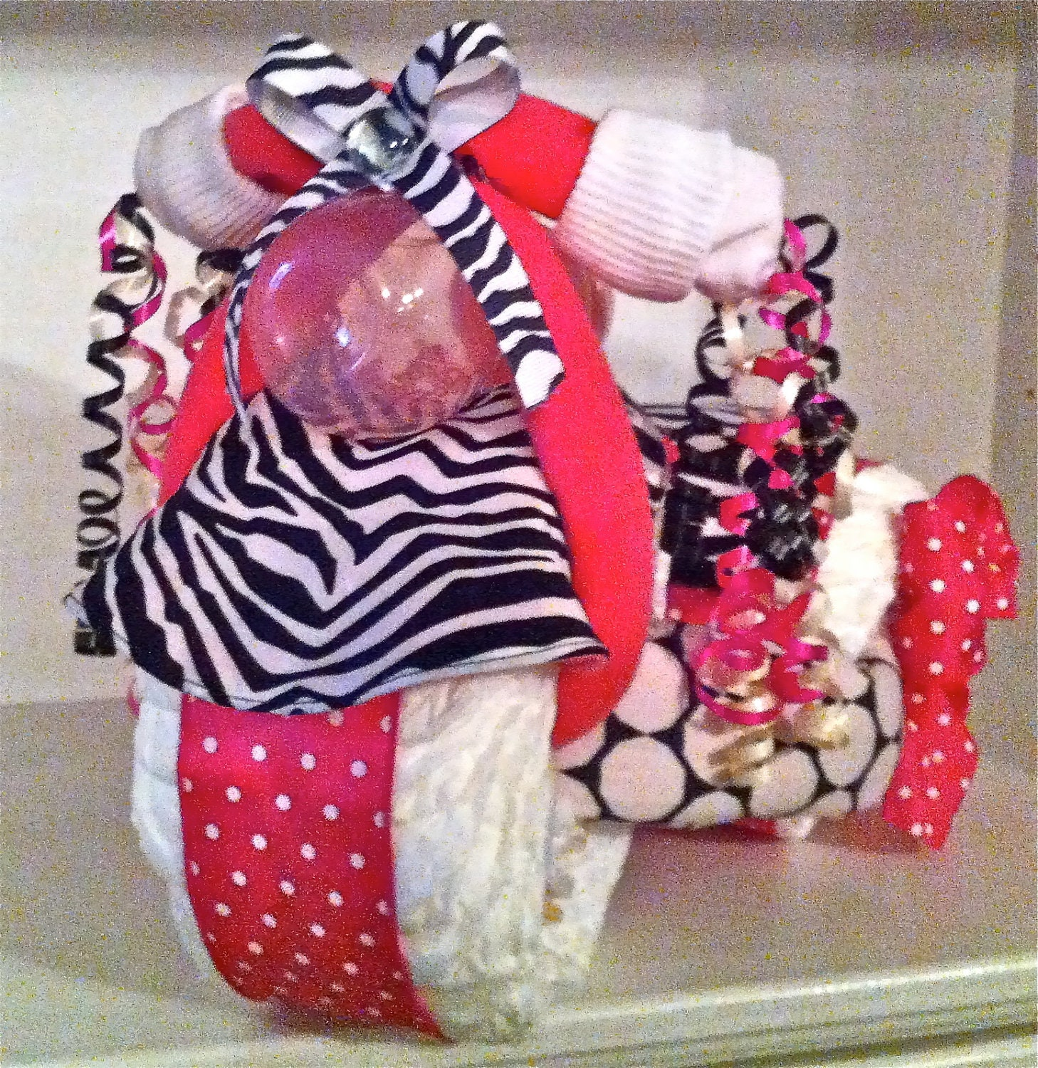 Zebra Print Amp Hot Pink Tricycle Diaper Cake With Personalized