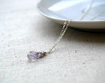 merriment... silver amethyst necklace / pale purple amethyst teardrop & sterling silver necklace / february birthstone