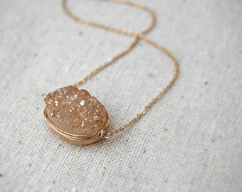 peche... gold druzy necklace / peach druzy quartz & 14k gold filled necklace