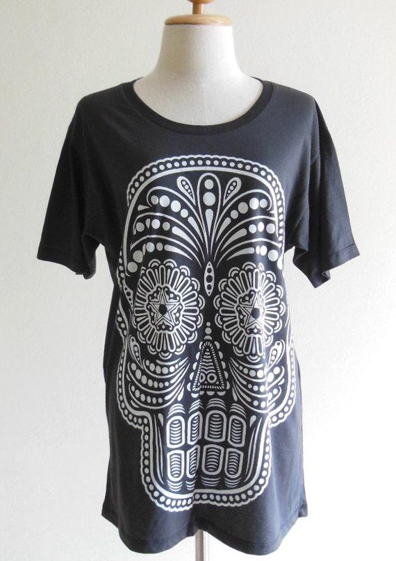 Skull Shirt Day Of The Dead Art Skull T-Shirt --  Skull Tee Shirt Unisex Shirt Women Shirt Men Shirt Short Sleeve Shirt Black Shirt Size M