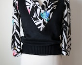 80s Knit Sweater / Abstract Print Blouse / Vintage 1980s Jumper