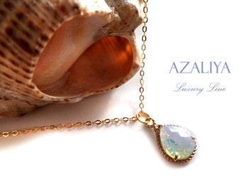 Ice Opal Necklace Charm Gold Plated Chain Clear Crystal Necklace. Azaliya Luxury Line. Bridal Jewelry, Bridesmaid Gifts.
