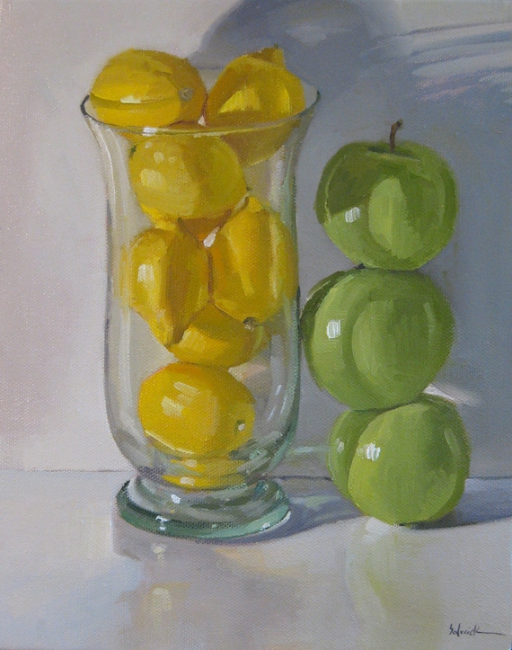 Items similar to flash sale framed art oil painting - Green apple kitchen decor ...