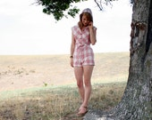 Vintage 70s Romper S HOODIE - Pink Gray Plaid Hot Pants Onsie Playsuit English Style Jumpsuit