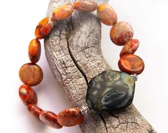 Boho Chic Bracelet, Sea Sediment Jasper Stone Bracelet, Sterling Silver Beads, Red Orange Natural Stone Bracelet