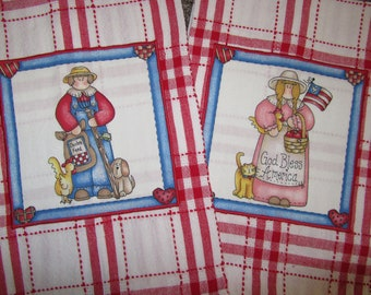 AMERICANA FARM Boy and Farmer Girl Dish Towels with Diana Marcum Fabric Red White and Blue