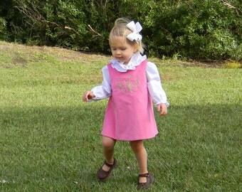 Girls Monogrammed Pink Corduroy Jumper Dress (Size 6 month to Girls Size 6)