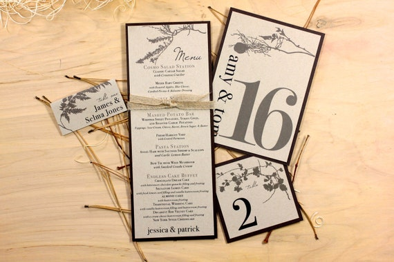 rustic wedding menu cards wedding place cards