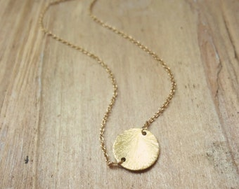 Gold Circle Necklace, Brushed Gold Vermeil Disc on a Delicate Gold Filled Cable Chain, Simple and Dainty Necklace by Shibusa Studio