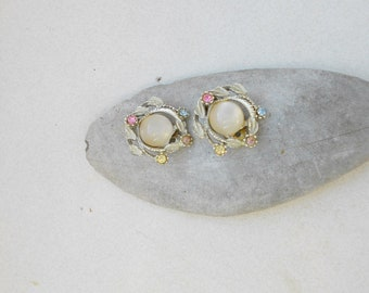 Moonstone and rhinestone earrings 1950s clip on silver tone metal in topaz, lavender and pink stones
