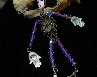 STEAMPUNK BD Art doll pin brooch  PrettyGirl Purple  etsyBead, paganteam,  OlympiaEtsy, FunkyAlternativeJewelry, WWWG, GeekyFreaky, Unique-y