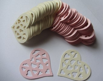 Paper hearts - Weddings - 200 die cut hearts - die cuts - paper hearts pink ivory - paper decorations - scrapbooking - party cupcake toppers