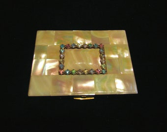 Vintage Cigarette Case Mother Of Pearl Elgin American 1950s Cigarette Case Business Card Credit Card Case Rhinestone EXCELLENT CONDITION