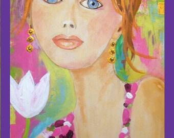 I Am Missing Summer . Original Woman Portrait .Oil , Acrylic ,Mixed Media .