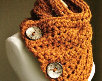 The Original BOSTON HARBOR SCARF  | Warm, soft & stylish scarf with 3 large coconut buttons | Butterscotch | sale