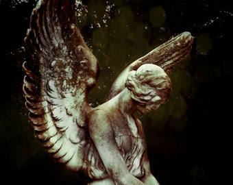 Angel Art, Cemetery Photo, Angel Wings, Wall Decor, Religious Art, Gothic Angel, Photo Gift, Guardian Angel, Art Print, Fine Art Photography