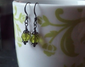 Petite Victorian Olivine Green Oxidized Silver Earrings by Quintessential Arts