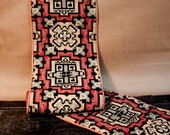 Antique Kilim Tapestry  /  Geometric Design  /  Red