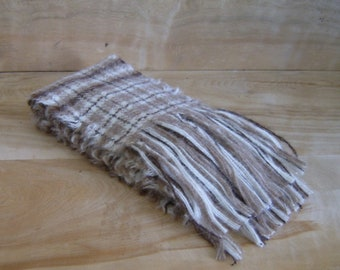 SALE - Alpaca Wool Scarf - Brown Tan Cream Rustic