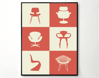 Print poster, mid century poster, retro poster, happy art, Chair Poster, Poster, Print Posters, Classic design poster, Chair Design
