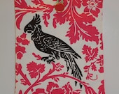 Modern Floral Damask Padded iPad Sleeve -- Pink, Black and White, with Parrot