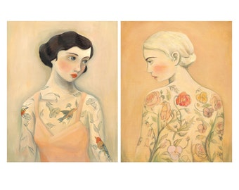 Tattooed Ladies Print Set, Rara Avis & Flora / 8x10 prints