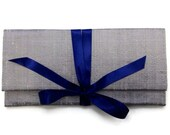 ALEXIS Clutch in Silver Silk with Navy