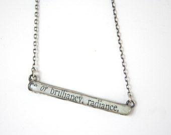 brilliancy and radiance necklace, recycled silver