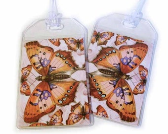 Luggage Tags -  Set of Two - Vivid Butterfly - orange pink and lavender baggage tags