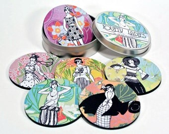 Lovely Ladies coaster set Vintage Gals 1920s flapper fashions 6 six coasters in matching tin