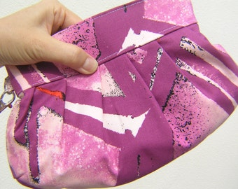 SALE BRIDESMAID CLUTCH Janbag Wristlet,cotton,pink purple,pocket,pleated cosmetic bag, - Philadelphia Uptown