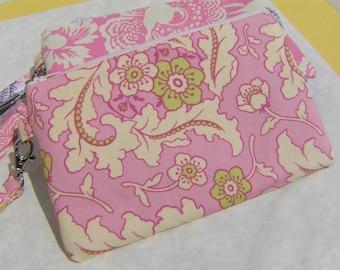 WEDDING CLUTCH, gift pouch, 2 pockets, pink,medium,wristlet,flowers - Floral bouquet pink