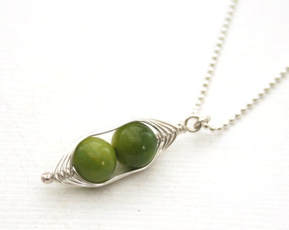 Peapod necklace. Two peas in a pod with green mother of pearl. Peapod jewelry, gift for mom, sister, or best friend. Mothers day gift