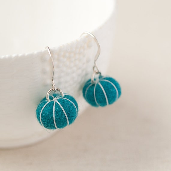 Felt Ball Earrings - Turquoise Blue - Stitched Putka Pods - Lightweight Accessory