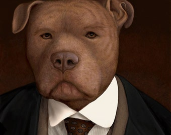 Bates Pit Bull Portrait - Downton Abbey - 8x10 Signed Print