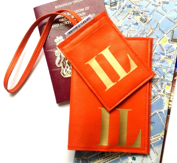 Sasha Leather Initial Luggage Tag TM and Mia Leather Passport Cover Set, Personalized Leather Passport Cover Luggage Tag Set, Wedding Gift