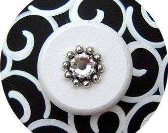 Black White SWIRLS Swarovski Crystal Jeweled Hand Painted Wood Decorative Dresser Furniture Cabinet Home Decor Accessories Drawer Knobs Pull