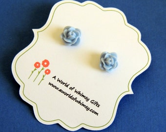 Light Blue Flower Cabochon Post Earrings