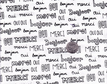 Fat quarter - Mon Amie French Words in White - Robert Kaufman cotton quilt fabric