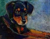 ACEO ATC Puppy Dog Animal Mixed Media Print DelPesco
