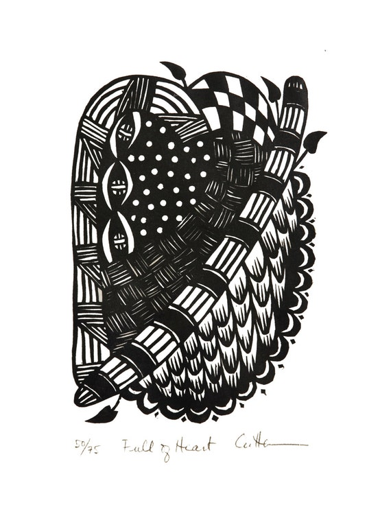 "Original / Unconventional / Valentine / 'Full of Heart' / Linocut Hand-pulled relief print / by Diane Cutter / matted 9""x12"" /  SFA"