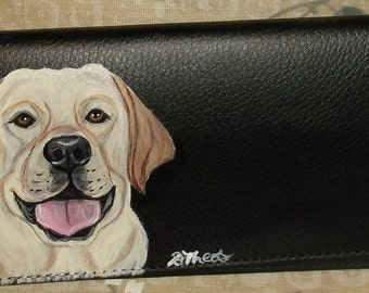Yellow Labrador Retriever Dog Custom Painted Leather deluxe Checkbook Cover