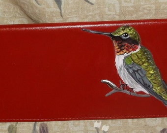 Hummingbird Custom hand Painted Leather Checkbook Cover checkbook Holder