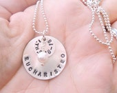 EUCHARISTEO - Personalized Hand Stamped Sterling Silver Necklace with two silver discs and one pearl or crystal
